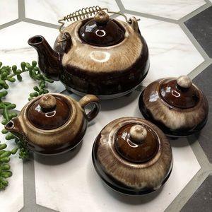 Vintage brown drip glaze tea set